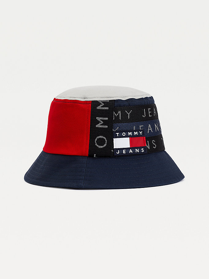 blue tommy badge repeat logo bucket hat for men tommy jeans