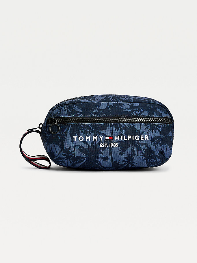 blue th established palm tree print washbag for men tommy hilfiger