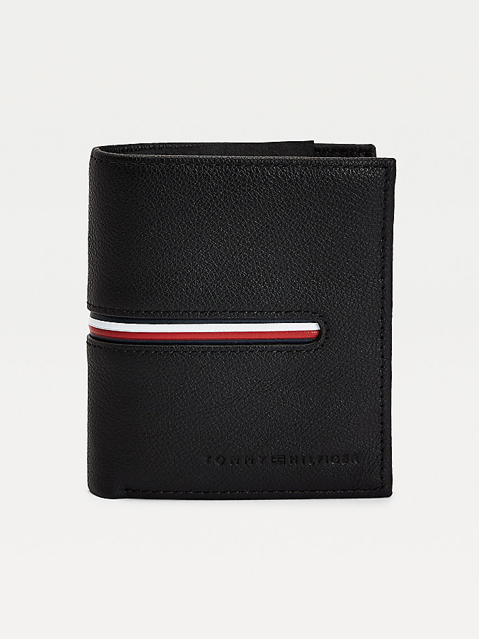 black th downtown n/s trifold for men tommy hilfiger