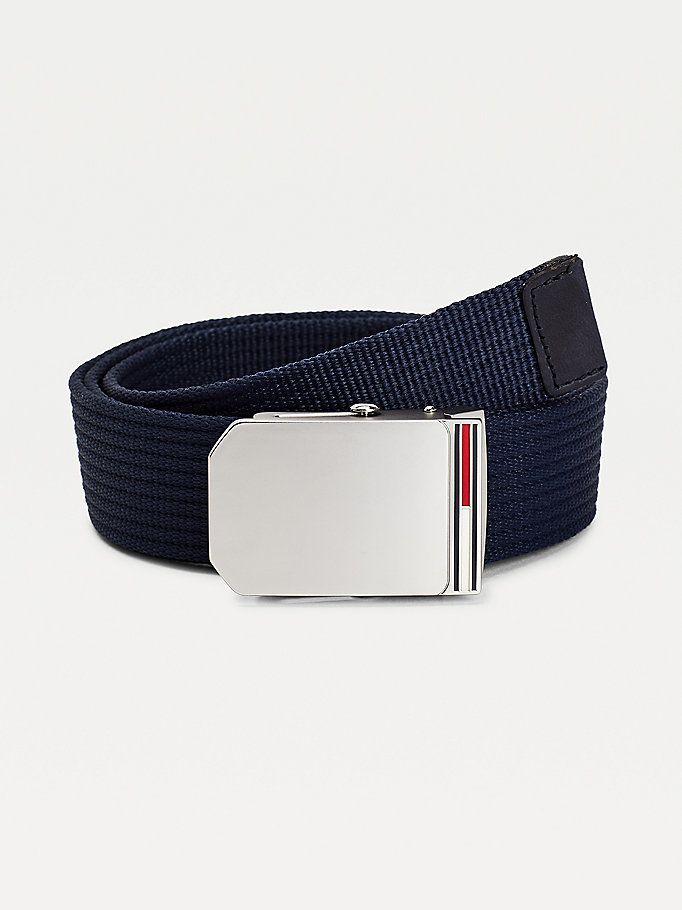 blue enamel flag webbing belt for men tommy jeans