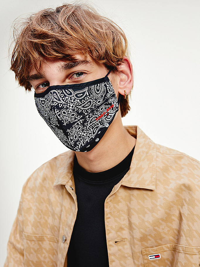 blue bandana print face cover for men tommy jeans