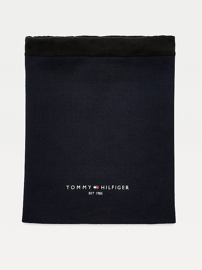 blue th established organic cotton snood for men tommy hilfiger