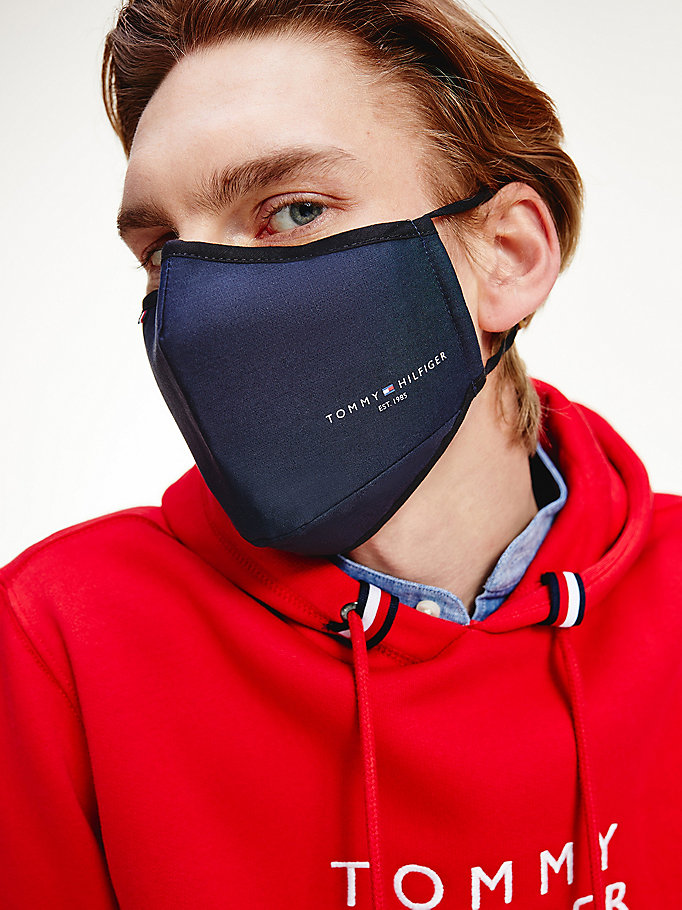 blue th established face cover for men tommy hilfiger