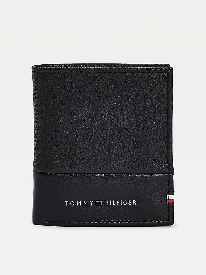 black textured leather tri-fold wallet for men tommy hilfiger