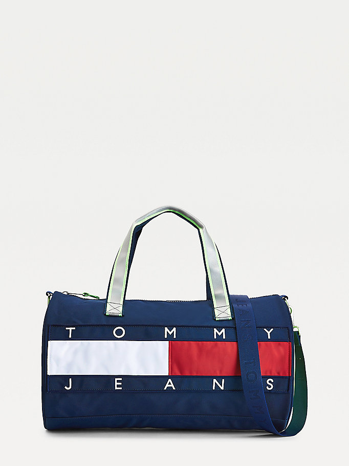 blue neon detail flag badge duffle bag for men tommy jeans