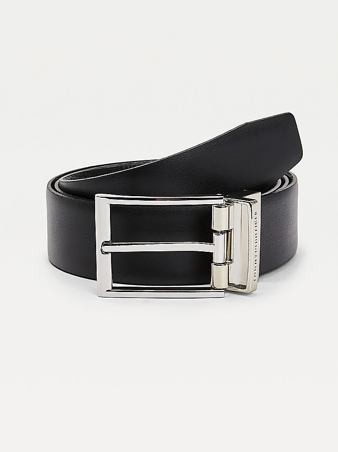black reversible adjustable leather belt for men tommy hilfiger
