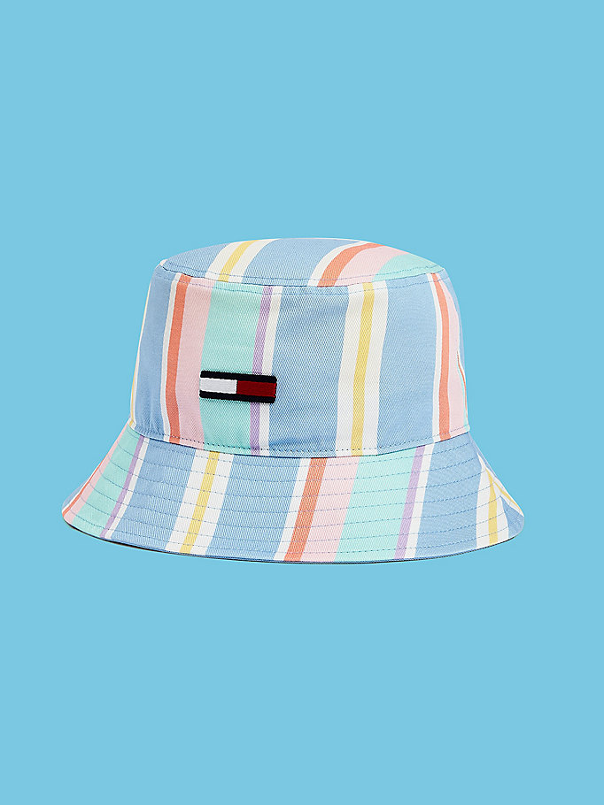 blue pastel stripe bucket hat for men tommy jeans