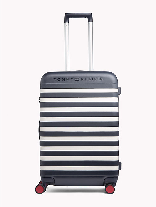 TOMMY HILFIGER Luxury Embossed Stripe Hard Suitcase - TOMMY NAVY STRIPE - TOMMY HILFIGER Bags & Accessories - main image