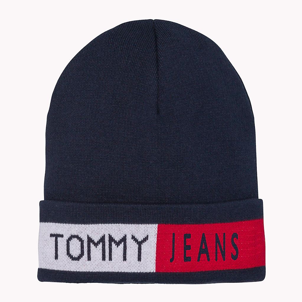 Logo Flag Beanie, Blue (Sky Captain 413), (Manufacturer Size: One Size) Tommy Hilfiger