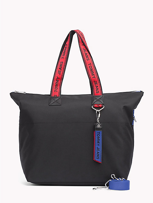 TOMMY JEANS Tote-Bag mit Tommy Hilfiger-Logo-Tape - BLACK MIX - TOMMY JEANS Tote Bags - main image