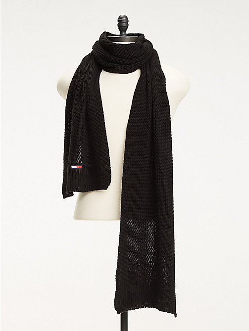 TOMMY JEANS Rib Knit Scarf - BLACK - TOMMY JEANS Winter Warmers - main image