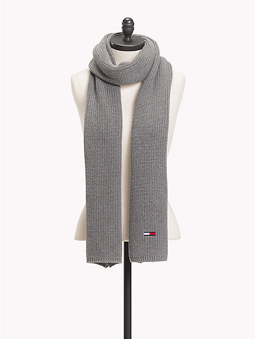 TOMMY JEANS Rib Knit Scarf - LIGHT GREY HEATHER - TOMMY JEANS Scarves - main image