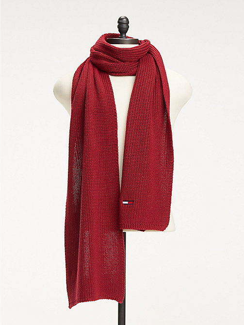 TOMMY JEANS Rib Knit Scarf - RUMBA RED - TOMMY JEANS Scarves - main image