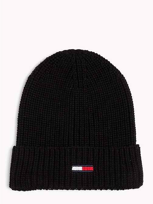 TOMMY JEANS Rib-Knit Beanie - BLACK - TOMMY JEANS Hats - main image
