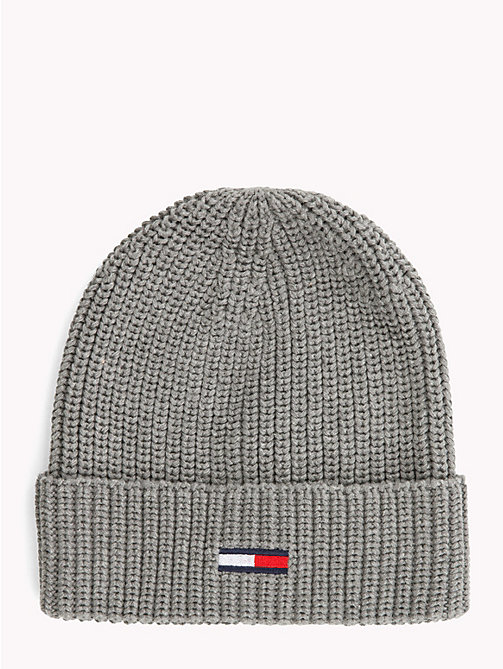 TOMMY JEANS Rib-Knit Beanie - LIGHT GREY HEATHER - TOMMY JEANS Bags & Accessories - main image