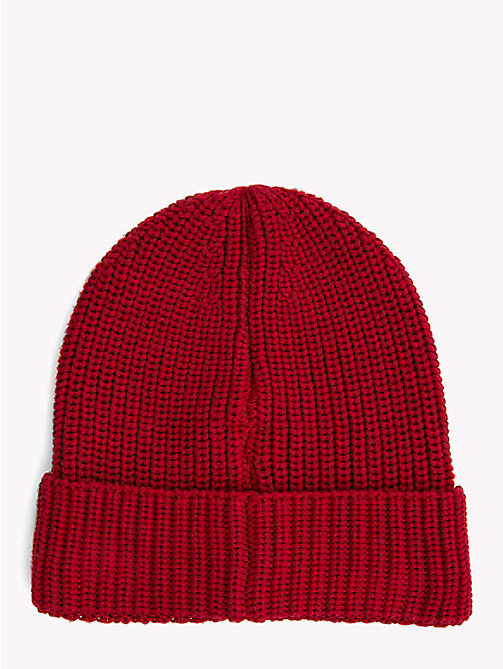 TOMMY JEANS Rib-Knit Beanie - RUMBA RED - TOMMY JEANS Hats - detail image 1