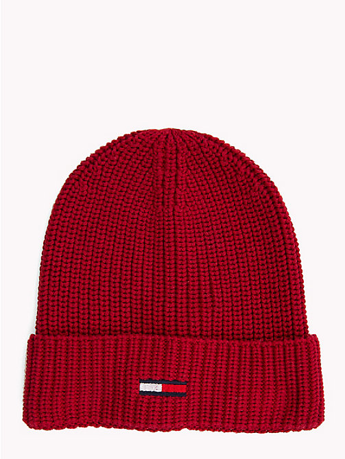 TOMMY JEANS Rib-Knit Beanie - RUMBA RED - TOMMY JEANS Hats - main image
