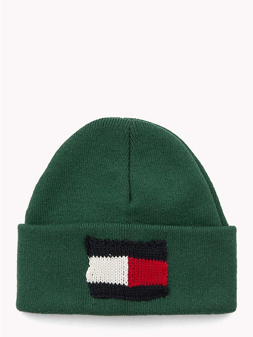 TOMMY HILFIGER Knitted Flag Kids' Beanie - HUNTER GREEN - TOMMY HILFIGER Shoes & Accessories - main image