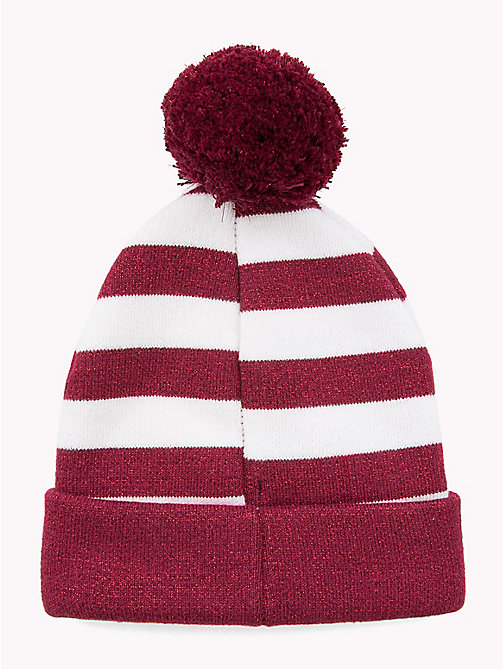 TOMMY HILFIGER Kids' Stripe Bobble Beanie - RUMBA RED/ WHITE - TOMMY HILFIGER Shoes & Accessories - detail image 1