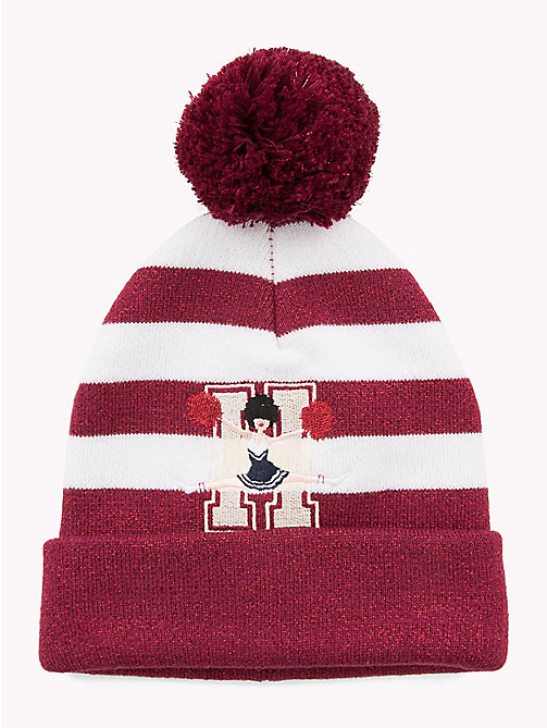 TOMMY HILFIGER Kids' Stripe Bobble Beanie - RUMBA RED/ WHITE - TOMMY HILFIGER Shoes & Accessories - main image