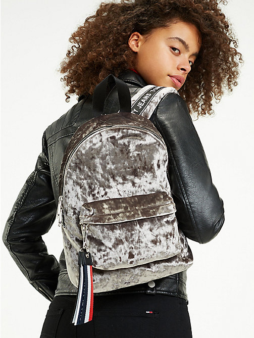 TOMMY JEANS Logo Tape Mini Velvet Backpack - CASTLEROCK - TOMMY JEANS Shoes & Accessories - detail image 1