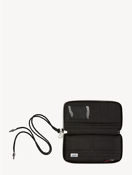TOMMY JEANS Logo Tape Zip Wallet - BLACK - TOMMY JEANS Shoes & Accessories - detail image 1