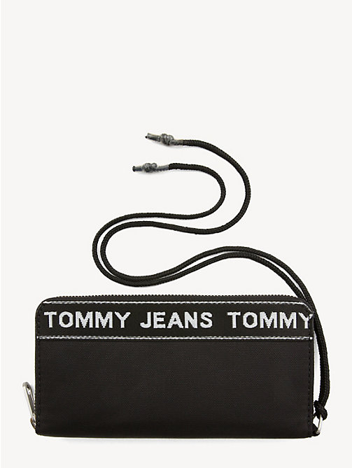 TOMMY JEANS Logo Tape Zip Wallet - BLACK - TOMMY JEANS Shoes & Accessories - main image