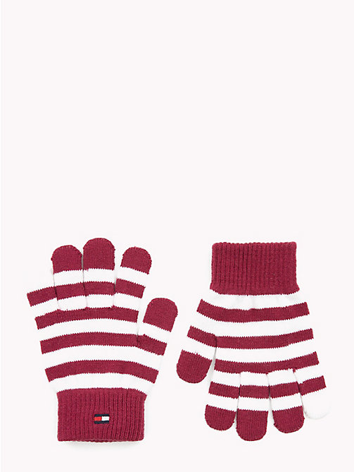 TOMMY HILFIGER Kids' Stripe Gloves - RUMBA RED/ WHITE - TOMMY HILFIGER Shoes & Accessories - main image