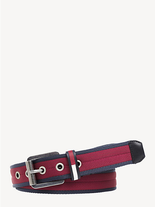 TOMMY JEANS Textured Metal Buckle Belt - TOMMY RED - TOMMY JEANS Shoes & Accessories - main image