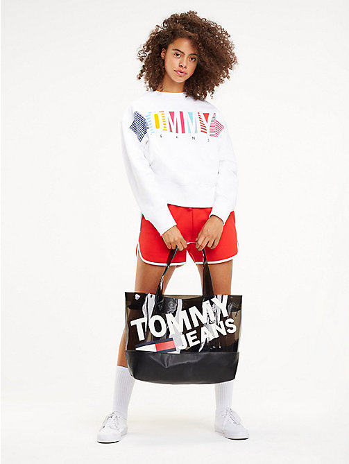 TOMMY JEANS Translucent Logo Print Tote - BLACK - TOMMY JEANS Shoes & Accessories - detail image 1
