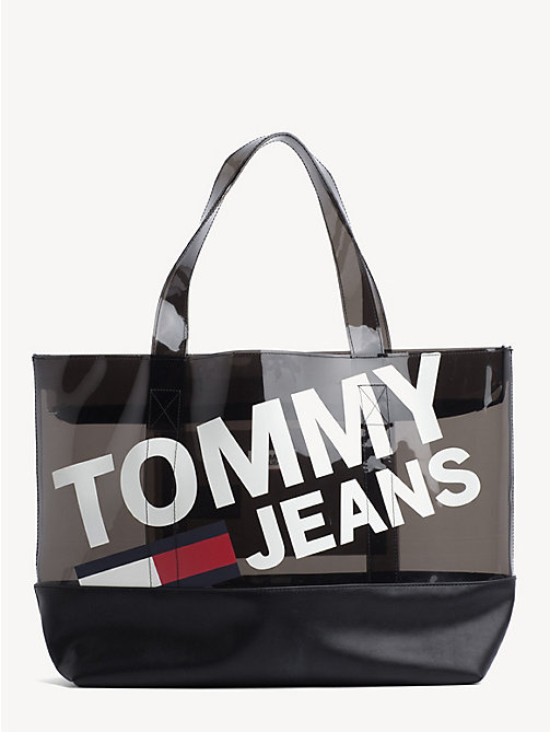 TOMMY JEANS Translucent Logo Print Tote - BLACK - TOMMY JEANS Shoes & Accessories - main image