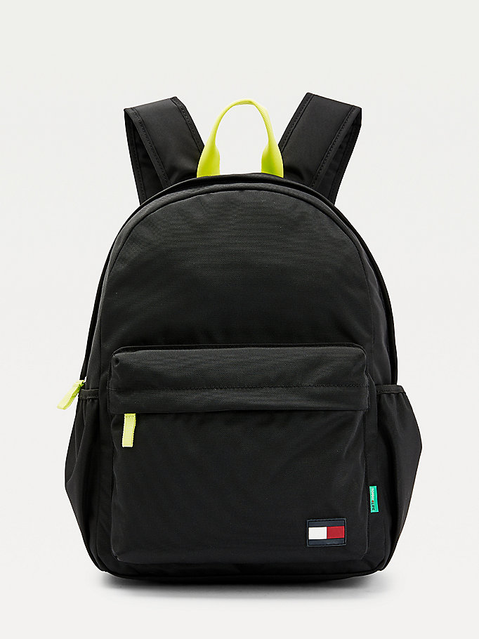 black kids' neon detail flag patch backpack for kids unisex tommy hilfiger