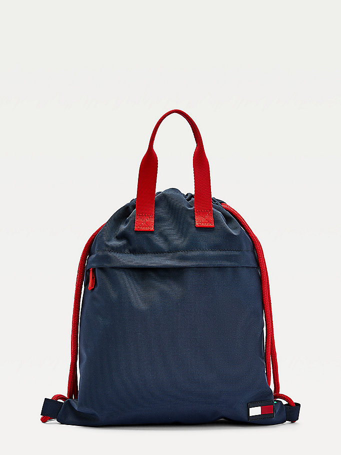 blue kids' recycled polyester drawstring backpack for kids unisex tommy hilfiger
