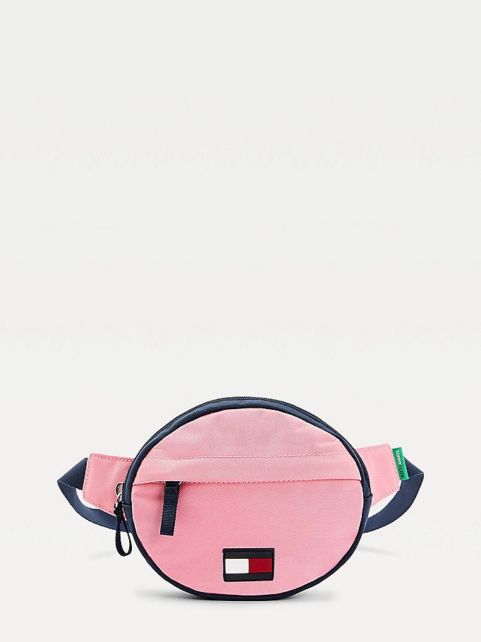 pink kids' colour-blocked round bum bag for kids unisex tommy hilfiger