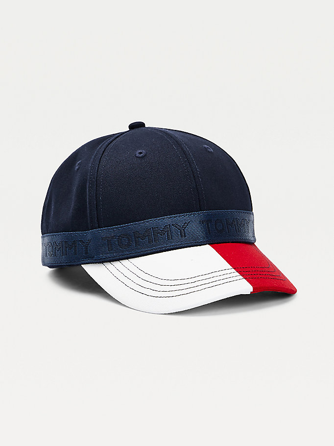 blue kids' colour-blocked organic cotton baseball cap for kids unisex tommy hilfiger