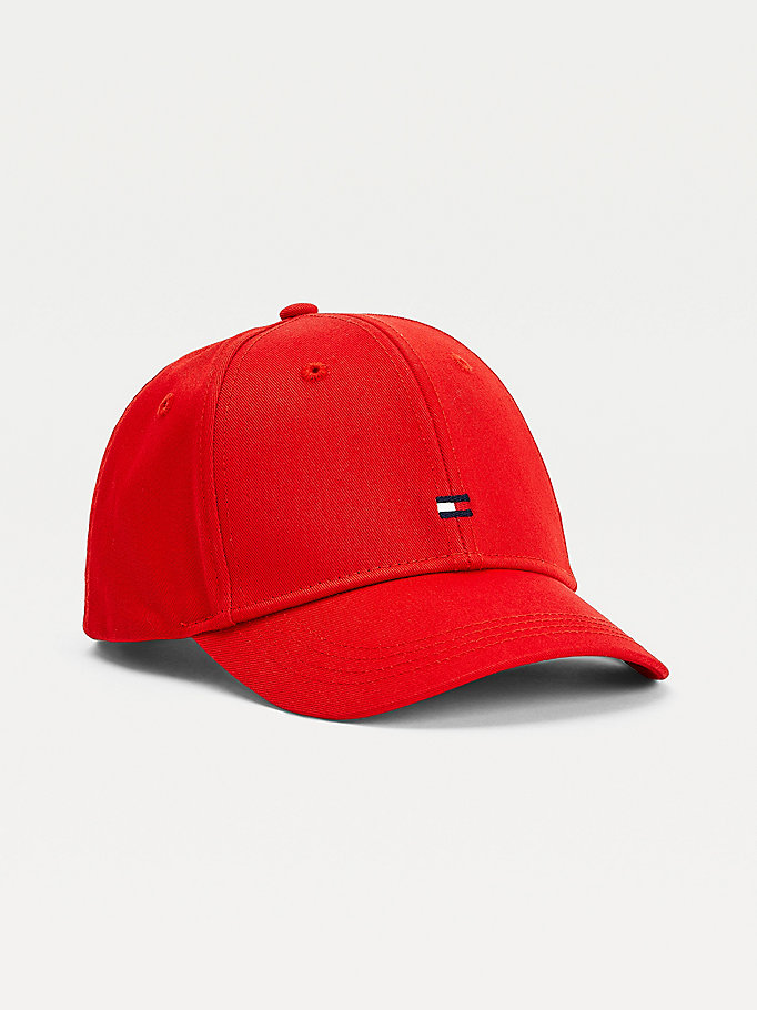 red kids' flag embroidery baseball cap for kids unisex tommy hilfiger
