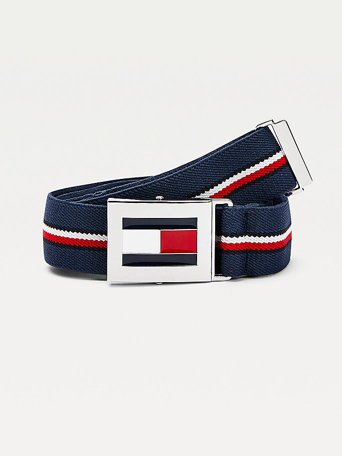 blue kids' signature detail easy clip belt for kids unisex tommy hilfiger