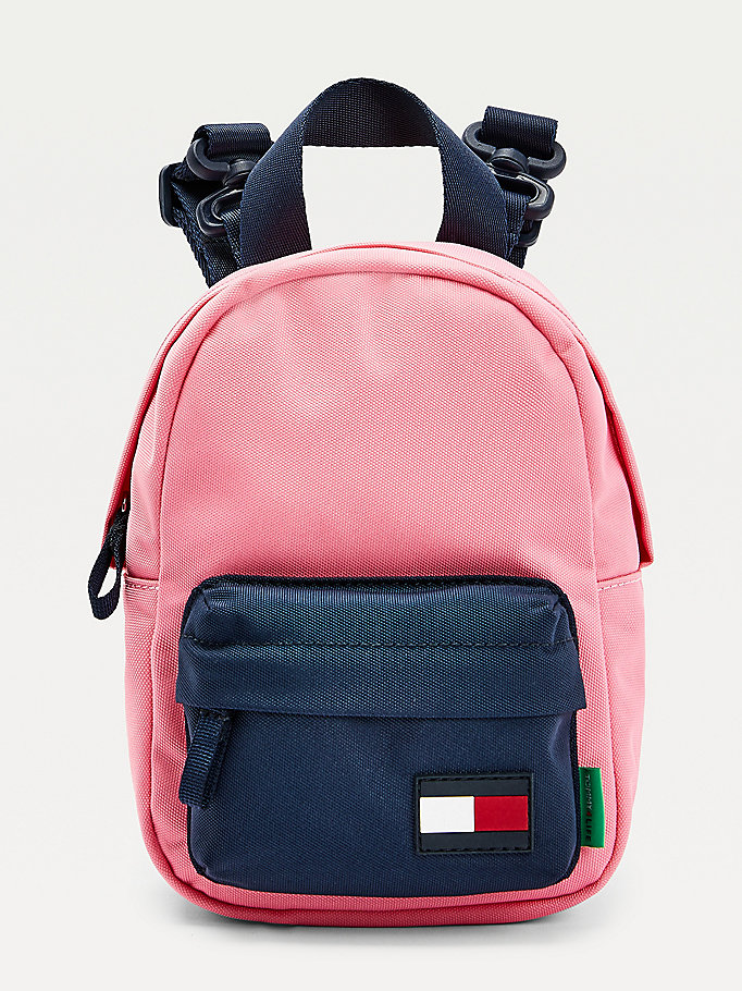 pink micro kids' colour-blocked flag patch backpack for kids unisex tommy hilfiger