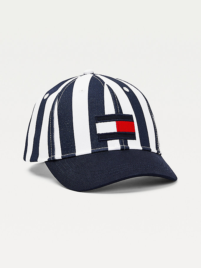 blue kids' stripe flag patch baseball cap for kids unisex tommy hilfiger