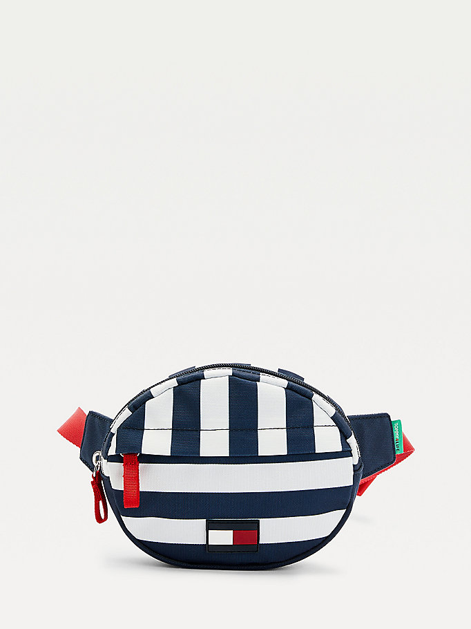 blue kids' stripe round bum bag for kids unisex tommy hilfiger