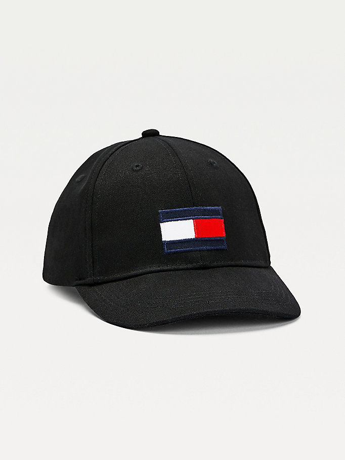 black kids' flag patch baseball cap for kids unisex tommy hilfiger
