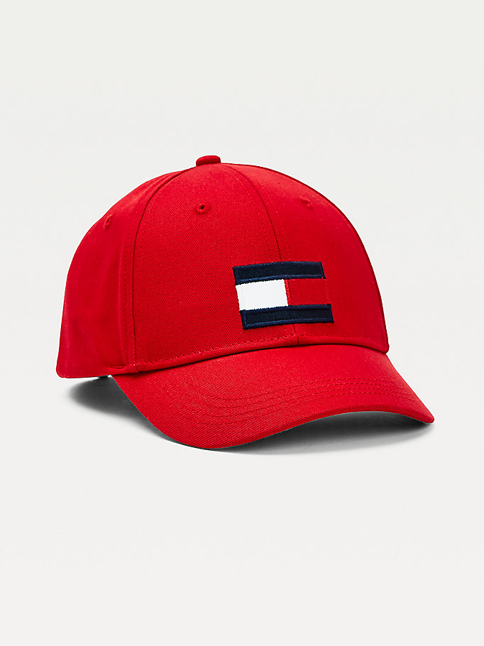 red kids' flag patch baseball cap for kids unisex tommy hilfiger