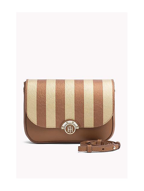 TOMMY HILFIGER Reversible Flap Crossover Bag - COGNAC/ GOLD STRIPE -  Women - main image
