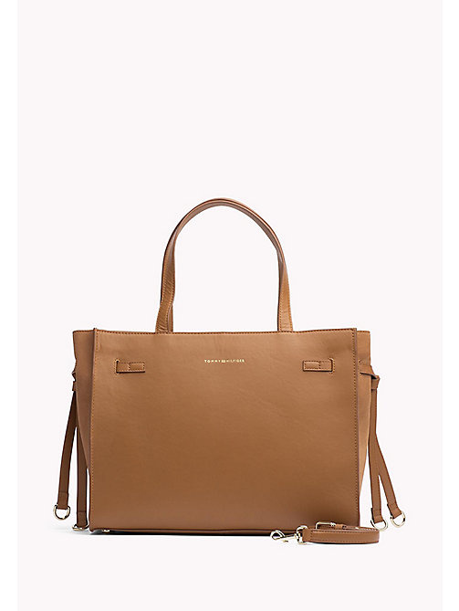 TOMMY HILFIGER Leather Tote Bag - COGNAC -  Women - main image