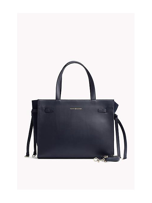 TOMMY HILFIGER Leather Tote Bag - TOMMY NAVY -  Women - main image