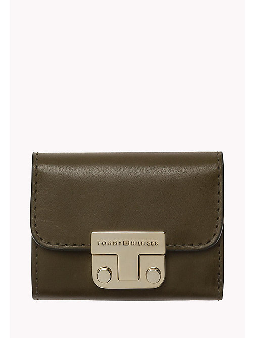 TOMMY HILFIGER Small Leather Flap Wallet - DARK OLIVE - TOMMY HILFIGER Women - main image