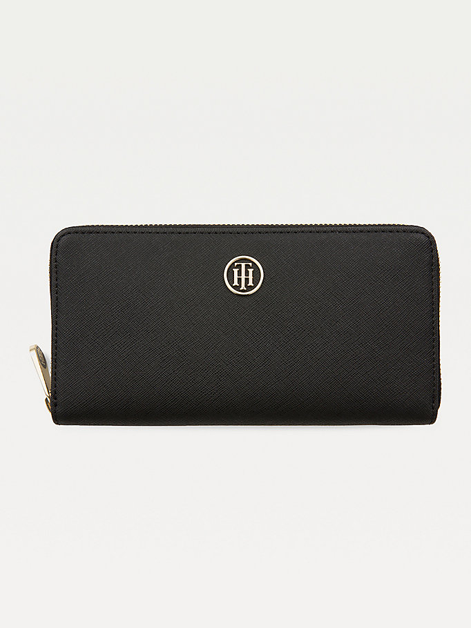black large monogram zip wallet for women tommy hilfiger