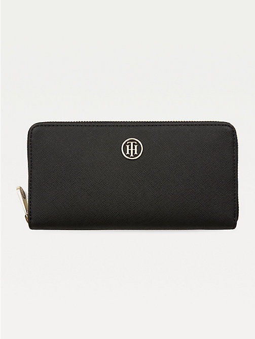 TOMMY HILFIGER Large Monogram Zip Wallet - BLACK - TOMMY HILFIGER Wallets - main image