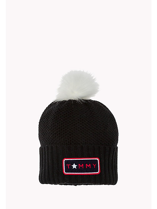 TOMMY HILFIGER Wool Blend Pom Pom Beanie - BLACK - TOMMY HILFIGER Bags & Accessories - main image