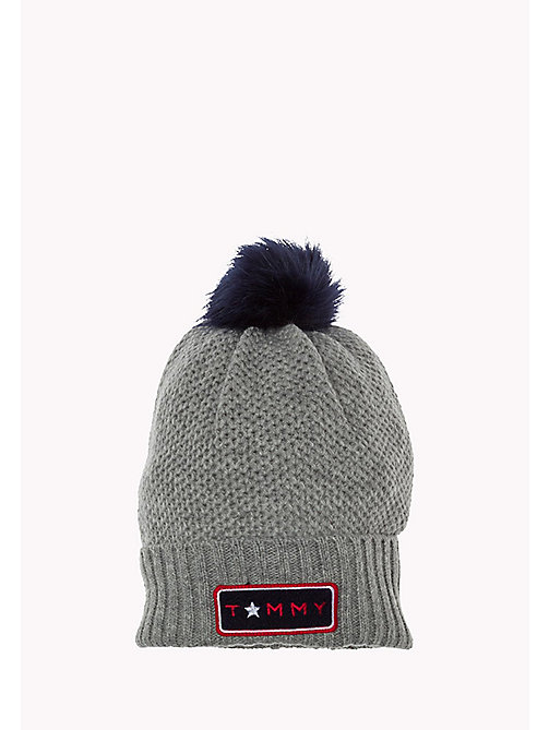 TOMMY HILFIGER Wolmix pompommuts - LIGHT GREY HEATHER BC04 - VOL39 - TOMMY HILFIGER Tassen & Accessoires - main image